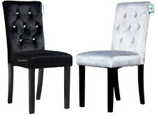 FOUR BLACK OR 4 GREY SILVER VELVET FABRIC DIAMANTE DETAIL DINING CHAIRS LUXURY!