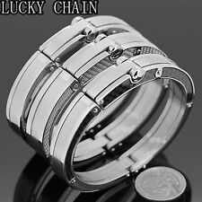 "MEN`S STAINLESS STEEL BANGLE HANDCUFF SILVER BRACELET/8.2""/78g/A10"