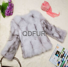 2014 New Style Women Real Fox Fur Coat Short Jakets V Neck Top Round Collar Coat