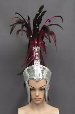 Futuristic Roman Warrior Helmet Bird Feather Headdress Costume Showgirl