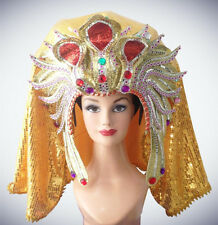 Egyptian King Pharaoh Gold Sequin Headdress Showgirl Costume