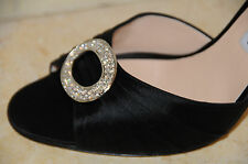 $785 New MANOLO BLAHNIK SEDARABY 105 Black Satin Silver Jeweled SHOES 42 41.5