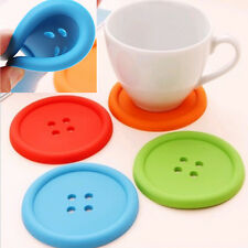 Circular Button Coaster Colorful Silicone Cup Holder Pad Mat Tableware Placemat