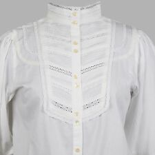 White Cotton Victorian Edwardian Florence Nightingale Plus size Blouse C482WT