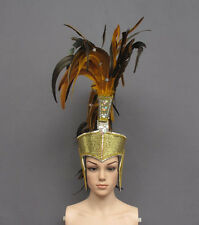 Golden Roman Warrior Helmet Bird Feather Headdress Costume
