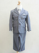 Silver gray toddler teen youth boy formal dress suit ring bearer wedding party