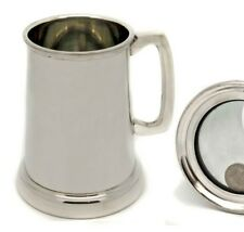 Personalised 1 Pint Pewter Tankard, Kings Shilling in Glass Base, Engraved