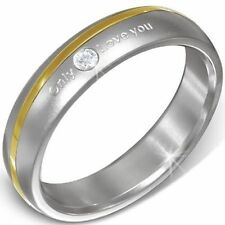 Edelstahl Ring Partnerring Only Love You Goldband Zirkonia Silber Bandring ME193