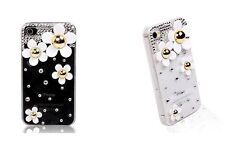 Marc Jacobs Style White Daisy Bling Crystals Case Cover Apple iPhone 4 4S 5 5S