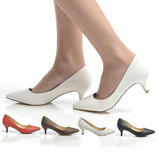 LADIES LOW HEEL COURT SHOES POINTED PUMP SHOES WOMENS CASUAL OFFICE