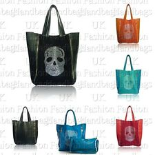 Ladies Large 2 in 1 Faux Leather Suede Diamante Skull Tote Shopper Hobo Bag