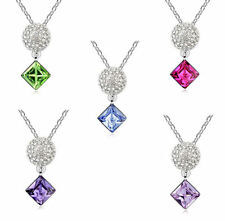 18K White Gold Plated Pendant Necklace made with Swarovski Crystals