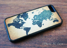 Mosiac Tiles World Map Case for iPhone 4 4s 5 5s 5C - Rubber or Plastic Cover