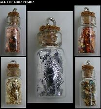 Glass Bottle Vial Pendant Charm Real Flakes Gold Silver Copper Red Green (BOX88)