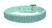 XS S M Dog Collar Rhinestone PINK or BLUE-Chihuahua Puppy Bling Pet Cat Diamante
