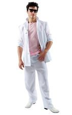 80s Miami Vice Crockett Pink White Suit Mens TV Detective Costume