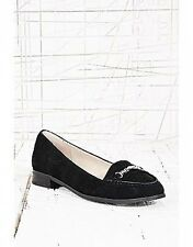 Urban Outfitters Black Harmony Chain Trim Suede Loafers BNWT UK 4 6 7 Leather