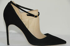 New Manolo Blahnik BB Ankle Strap 105 Black Suede Shoes Pumps Heels 40.5 RARE!