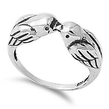 .925 Sterling Silver Twin Love Birds Ring Sparrows Jewelry RP057
