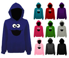 Womens Cookie Monster Sesame Street Character Face Pullover Hoodie NEW UK 12-22