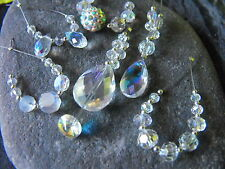 BEAD SETS faceted glass crystal rainbow coated briolette teardrop clear 3-18mm
