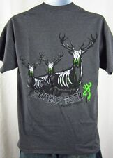 Mens NWT Browning Buckmark Tweed Gray Zombie Deer Crewneck T Shirt Any Size