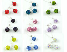 Shamballa 10mm Crystal Disco Ball Pendant Necklace and Stud Earrings Set