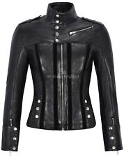 Ladies 4520 Black Slim Fit Suede Sheep Biker Napa Genuine Soft Leather Jacket