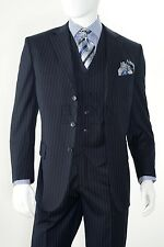 Vittorio St Angelo Men 3 Piece Pin Stripe Regular Fit Wool Feel Suit T63TRS Navy