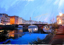 A4 A3 or A2 Limited Edition Art Print of Florence Italy painting by RussellArt