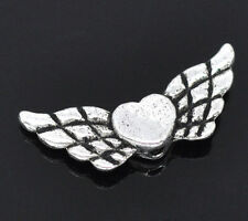 Wholesale HOT! Jewelry Spacer Beads Heart& Wing Silver Tone 22x9mm