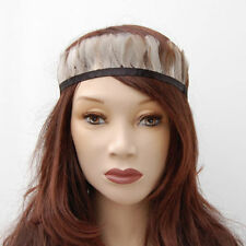 White brown boho hippie indian feather headband fancy dress festival headdress
