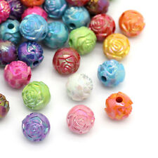 Wholesale Jewelry Acrylic Spacer Beads Flower Carved Round Mixed AB Color 3/8""