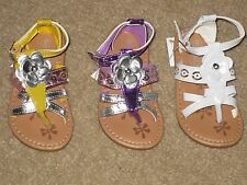 ADORABLE SANDALS WITH BOW Purple or White or Yellow Girls Toddler 4 to 8 NEW