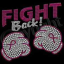 Fight Back In Rhinestuds Breast Cancer Awareness New T-Shirt S - 3XL