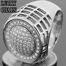 MEN`S STAINLESS STEEL ICED OUT LAB DIAMOND SILVER RING(NEVER FADE)12g/G28