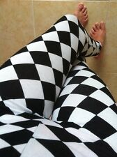 White Jade HARLEQUIN Diamond JESTER CHECKERED Leggings pants Cotton Poly S M L