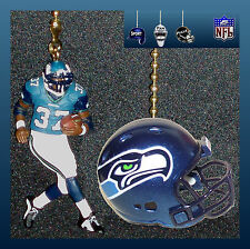 NFL SEATTLE SEAHAWKS RUNNING BACK FIGURE & FOOTBALL HELMET CEILING FAN PULLS