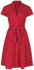 1940s WW2 Retro Vintage Style Red Polka Dot Belted A-Line Shirt Dress NEW 8 - 20