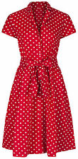 1940s WW2 Retro Vintage Style Red Polka Dot Belted A-Line Shirt Dress NEW 8 - 28