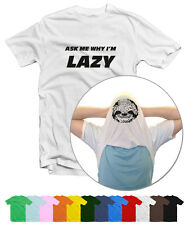Ask Me Why I'm Lazy Funny Flip T-Shirt in 12 Colours by Smudged