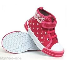 GIRLS HI TOPS TRAINERS INFANT KIDS PRETTY CANVAS ANKLE HIGH TOP BOOTS SHOES 4-12