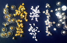 EARRING BACKS: 12 Gold / Silver as Butterfly or Disc ~  20 Plastic Cone or Tube
