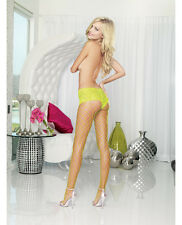 NET PANTHOSE WITH CHEEKY BOY SHORTS LACE TOP Lime