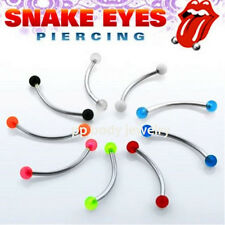 "16G~9/16"" 316L S. Steel Curved Barbell w/ 3mm UV Balls for ""Snake-Eyes"" Piercing"