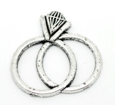 Wholesale DIY Jewelry Silver Tone Rings Charms Pendants 25x25mm