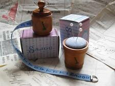 Sajou French vintage style wooden Tape measure/ Pin Cushion- Blue