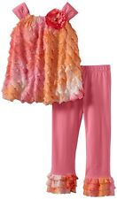 RARE EDITIONS Girl Pink Coral Eyelash Ruffle Top Legging Set Outfit Size 2T 3T 4