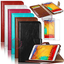 Leather Wallet Case Cover For Samsung Galaxy Note 3 N9000 N9005 w/ Screen Guard