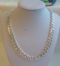 Thick 925 silver filled men curb chain heavy necklace(L20,22,24,26inches W10mm)